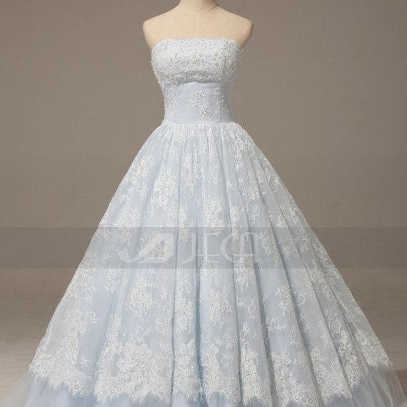 A Line Baby Blue Lace Wedding Gown Rustic Chic Dress Romantic Quinceanera On Luulla